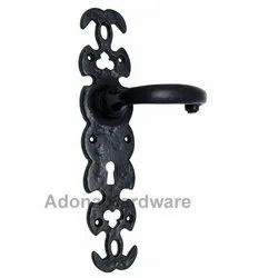 Akim Black Iron Door Handle with Plate
