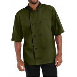 Chef Coat Olive  Green  Short Sleeve Twill Weave Fabric Suzuki Mills
