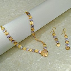 Party,Anniversary golden and silver Artificial Jewelry Two-Tone Necklace Set