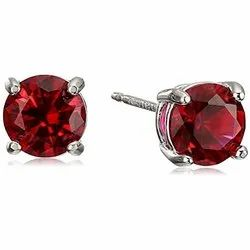 Sterling Silver Red Round Cut Ruby Stud Earrings, For Party