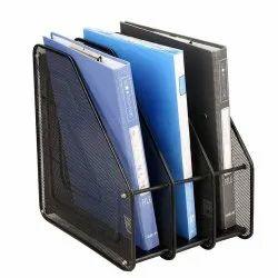 Black Rectangular 3 Layer Metal Mesh Magazine Document Holder File Rack, Size: 8.5 x 35.5 x 32cm