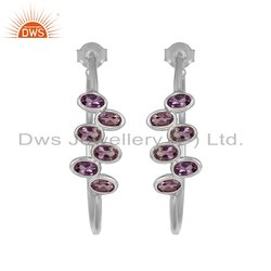Natural Purple Amethyst Gemstone Designer Sterling Silver Hoop Earrings