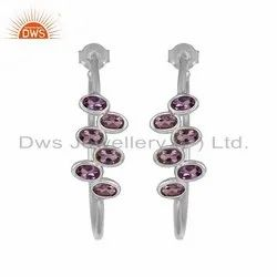 Amethyst Gemstone Designer Sterling Silver Hoop Earrings