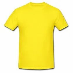 Regular Half Sleeve Plain Yellow T-Shirts