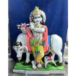 Krishna With Cow Statue