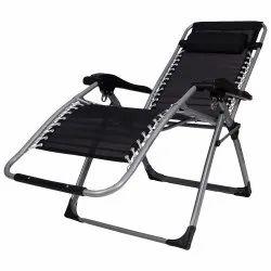 Black Iron Foldable Adjustable Lounge Metal Chair for Home