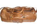 Hv Brown Genuine Leather Round Duffel Travel Bag, Packaging Type: Export Quality Packing