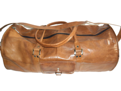 Genuine Leather Round Duffel Travel Bag