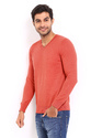 Svaraati Red V Neck Full Sleeve Plain T Shirt