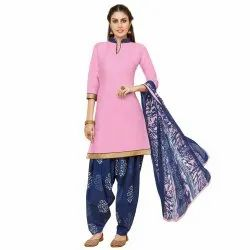 Pink Colored Glace Cotton Unstitched Casual Wear Salwar Suit