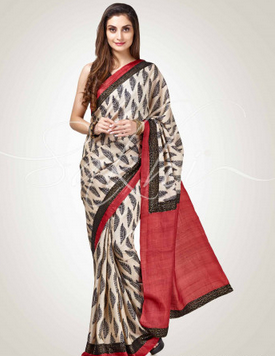 eef8408c6f Black, Red Black And Red Pure Tussar Silk Saree, Rs 8500 /piece | ID ...
