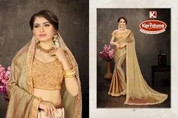 Border Saree With Embroidered Blouse