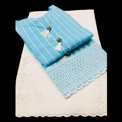 Casual Wear Unstitched Cotton Kurti With Palazzo, Machine wash