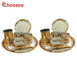 Choozee - Copper Thali Set of 2 (14 Pcs) of Plate, Bowl, Spoon & Glass