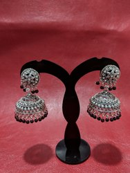 Black Oxidized Designer Silver Jhumka