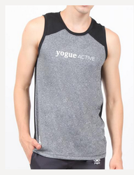 Male Silver Black Sleeveless Vest