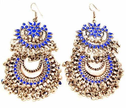S And Women Designer Darkblue Afghani Ethnic Earring