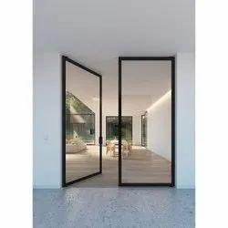 Hinged Plain Frameless Toughened Office Glass Door, Thickness: 12 Mm