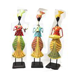 Metal Pagdi Panjabi Doll Set Of 3 Piece