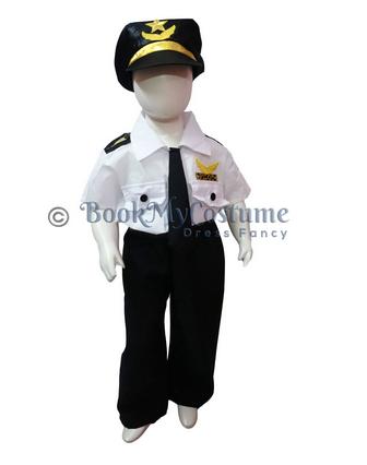 7ea70a7cc88 White   Black Airline Pilot Kids Fancy Dress Costume