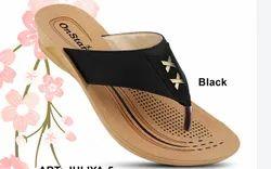 Pu Printed Ladies Black Daily Wear Designer Slipper, Packaging Type: Box