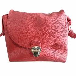 Leather Push Lock Shoulder Bag