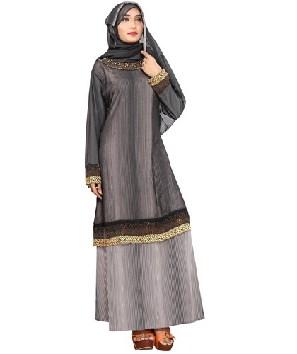 3c287b3082aca Black & White Lycra New Stylish Dubai Islamic Women' s Casual Wear Plain  Lining Abaya