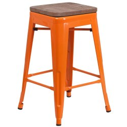 Orange Wooden Counter Stool, For Restaurant, 28 Inch