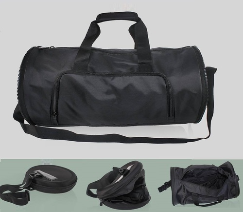 2304ccd9f5 Round Shape Black Folding Duffel Bag