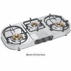 Three Burner Stainless Steel LPG Gas Stove, Packaging Type: Box
