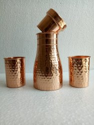 Copper Carafe Bottle with 2 Copper Glass Set