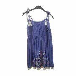 Purple Casual Girls Fancy Sleeveless Top, Packaging Type: Packet