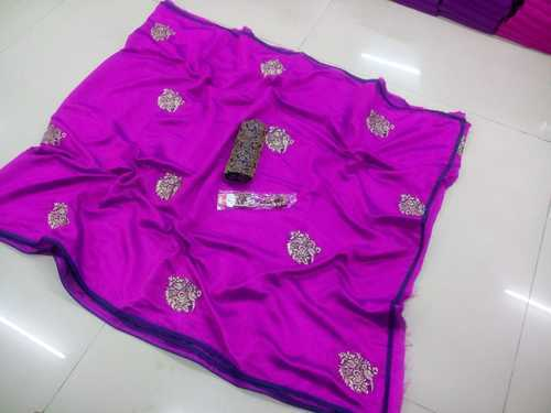 4f30307d45 Silk Embroidery Work Saree With Jacquard Blouse Piece, Length: 6.3 M ...