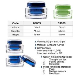 50 Gram Oval Acrylic Jar