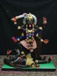 Painted Black Marble Maa Kali Statue