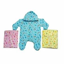 Blue, Yellow And Pink Cotton Baby Printed Romper
