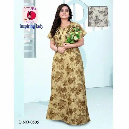 e3c0cec891 L-xl Full Length Ladies Cotton Camric Print Nightgown, Rs 795 /piece ...