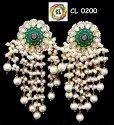 CL Jewellery Meenakari Kundan Pearl Dangler Earrings