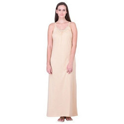 Plain Cotton Sleeveless Night Gown, Size: S-XXXL