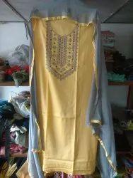 Unstitched Cotton Satin Suit