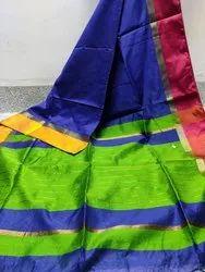 Red Roxyma Maheshwari Cotton Silk Saree With Contrasrt Border