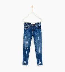 Girls Ripped Denim Jeans