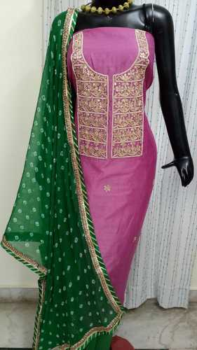 c537c0b02e Aaditri clothing Plain and Printed Chanderi Gota Patti Dress Material