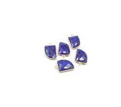 Blue Sapphire Gemstone Bezel Connectors