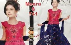 Chiffon Embroidered Red and Blue Girls Ethnic Wear
