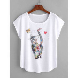 Casual Wear Half Sleeves Ladies White Printed T-Shirts