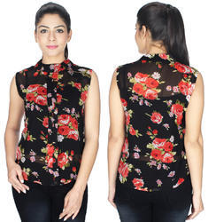 Red Black Georgette Top