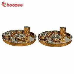 Choozee - Copper Thali Set of 2 (16 Pcs) of Thali, Bowl, Spoon & Glass