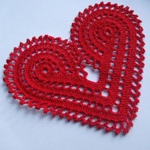 Red Heart Shaped Handmade Crochet Doilies Rs 25 Piece Id
