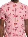 Printed Light Pink Half Sleeve Men Casual Cotton Viscose Shirt